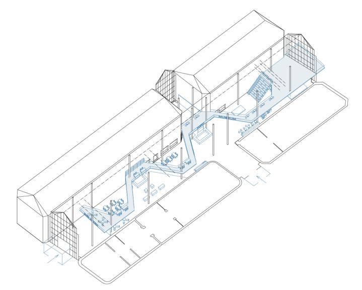 En spång som slingrar sig mellan husen på en vånings höjd binds samman med en ny informationsdisk mitt i det nuvarande torget och taket på en ny programsal i öster.